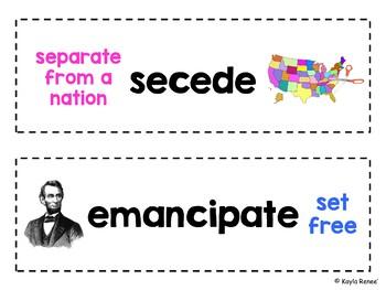 8th Grade Social Studies Vocabulary Word Wall