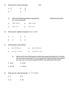 8th Grade Solving Equations EDITABLE TEST