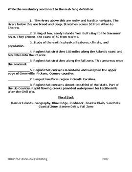 8th Grade South Carolina Social Studies Vocabulary Quiz Book