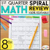 8th Grade Math Review   Homework or Warm Ups   1st Quarter