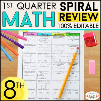 8th Grade Math Review | Homework or Warm Ups | 1st Quarter