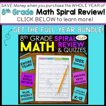8th Grade Math Homework 8th Grade Math Warm Ups 8th Grade Math Review FREE