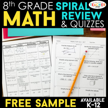 8th Grade Math Spiral Review 2 Weeks Free By One Stop Teacher Shop