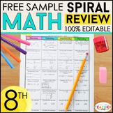 8th Grade Math Spiral Review & Quizzes | FREE