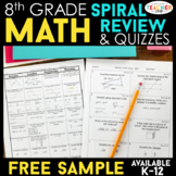 8th Grade Math Spiral Review & Quizzes | FREE