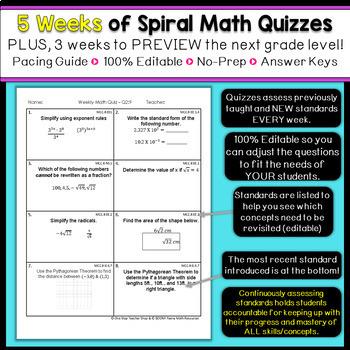 8th Grade Math Homework 8th Grade Math Warm Ups 8th Grade Math Spiral Review