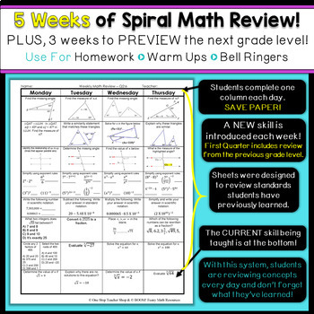 8th Grade Math Review | Homework or Warm Ups | 4th Quarter
