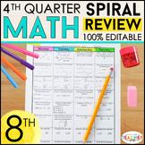 8th Grade Math Review   Homework or Warm Ups   4th Quarter