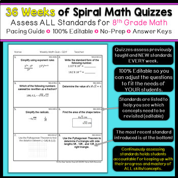 8th Grade Math Spiral Review | 8th Grade Math Homework or Warm Ups