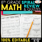 8th Grade Math Spiral Review Distance Learning Packet | 8th Grade Math Homework