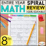 8th Grade Math Spiral Review & Quizzes | Homework or Warm Ups