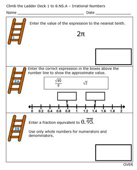 8th Grade Standards Based Grading - Irrational Numbers - Editable