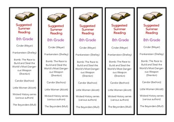 8th Grade Suggested Summer Reading Bookmark