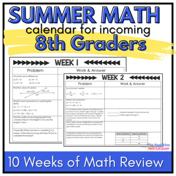 8th Grade Summer Math Review Calendar: 7 Weeks of  Common Core Problems