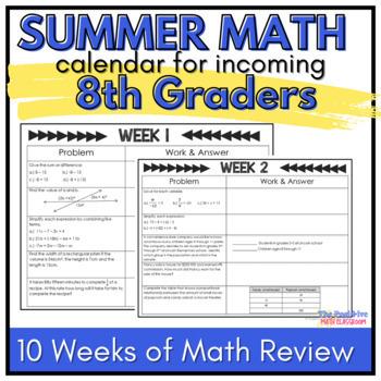 8th Grade Summer Math Review Calendar | TpT