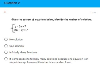 8th Grade Systems of Linear Equations Quick Check Google Forms Assessment