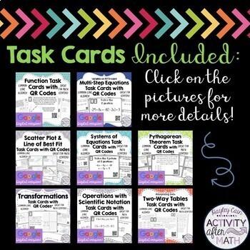 8th Grade TASK CARDS BUNDLE GOOGLE SLIDE VERSION! Over a 20% savings!!