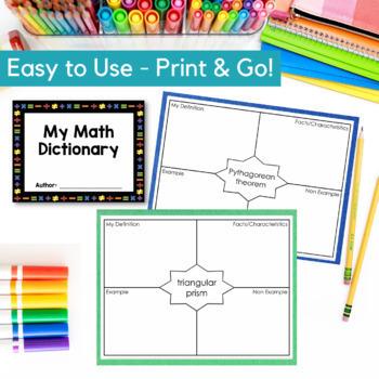 8th Grade TEKS Math Vocabulary - My Math Dictionary - PLC Tools - STAAR Aligned