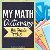 8TH GRADE TEKS STAAR MATH VOCABULARY ~MY MATH DICTIONARY & PLC TEACHER TOOLS