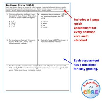 8th Grade THE NUMBER SYSTEM Assessments (8.NS) Common Core