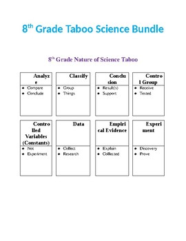 8th Grade Taboo Science Bundle
