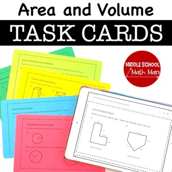 8th Grade Task Cards - Area and Volume
