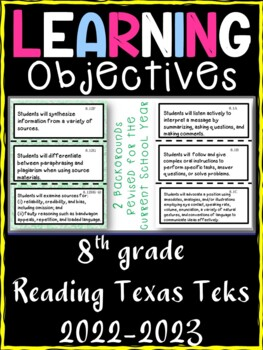 8th Grade Texas TEKS Reading/ Writing Learning Objectives Cards