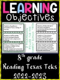 8th Grade Texas TEKS Reading/ Writing Learning Objectives Cards | Color & B&W