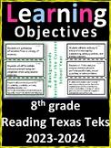 8th Grade Texas TEKS Reading/ Writing Learning Objectives