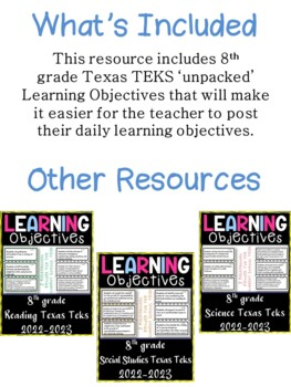 8th Grade Texas TEKS Science Learning Objectives Cards