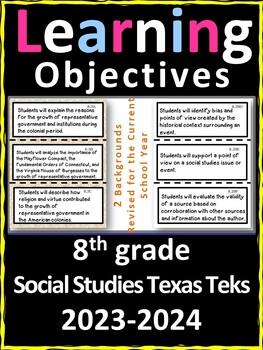 8th Grade Texas TEKS Social Studies Learning Objectives Cards