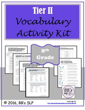 8th Grade Tier 2 Vocabulary Activity Kit