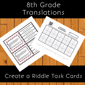 8th Grade Transformations:  Translations Create a Riddle Task Cards Activity