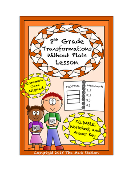 8th Grade Transformations Without Plots Lesson: FOLDABLE & Homework