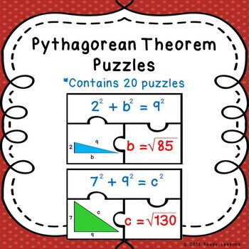 8th Grade Triangles Pythagorean Theorem Activity Right Triangle Puzzles 8.G.7