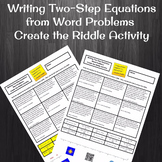 Writing Two-Step Equations from Word Problems Create the Riddle Activity