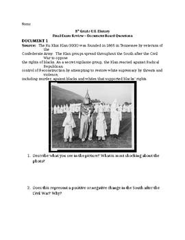 8th Grade U.S. History DBQ