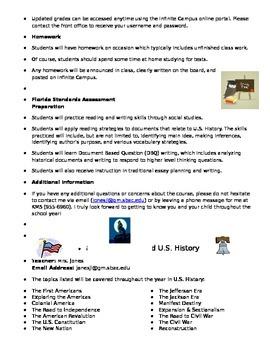 8th Grade U.S. History Open House Handout