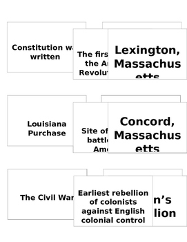 8th Grade U.S. History STAAR Review Cards
