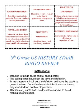8th Grade US HISTORY STAAR BINGO REVIEW