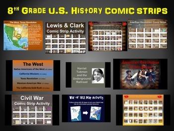 8th Grade U.S. History COMIC STRIPS Bundle: 10 engaging world history activities