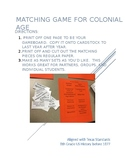 8th Grade US History Colonial Era Colonization Matching Game