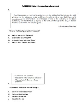 8th Grade US History Fall Benchmark (Jamestown - Bill of Rights)