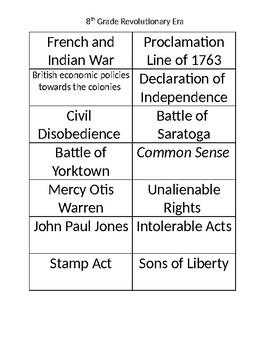 8th Grade US History Revolutionary Era Revolution Matching Game