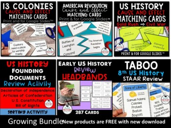 STAAR Review - 8th Grade US History  - GROWING BUNDLE of Games and Activities!