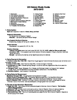 8th Grade US History STAAR Study Guide 2013