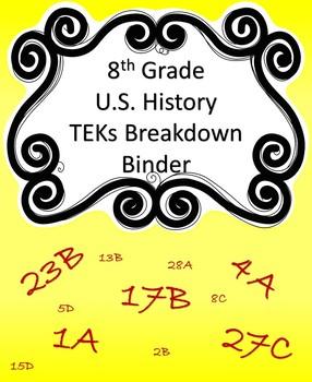 8th Grade US History TEKS Breakdown Binder