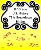 8th Grade US History TEKS Breakdown Binder