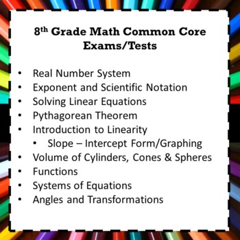 8th Grade Common Core Math Assessments/Exams/Tests