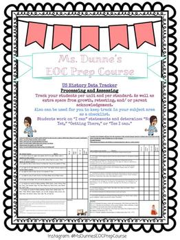 Student and Teacher 8th Grade United States History Learning Goal Data Tracker